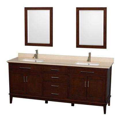 Hatton 80 in. Double Vanity in Dark Chestnut with Marble Vanity Top in Ivory, Square Sink and 24 in. Mirrors