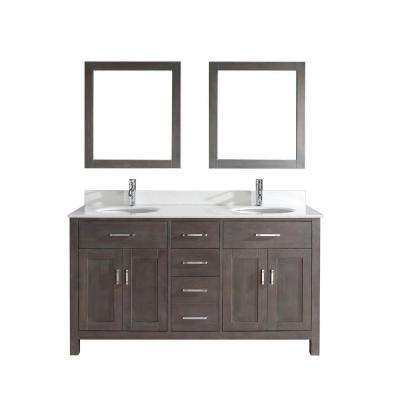 Kalize 63 in. Vanity in French Gray with Solid Surface Marble Vanity Top in Carrara White and Mirror