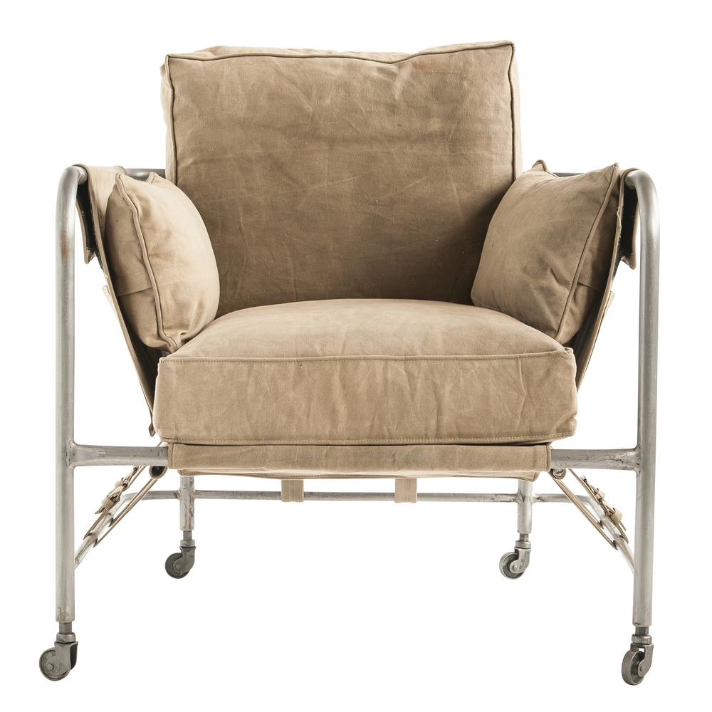 Khaki Canvas and Metal Chair with Pockets and Caster Wheels