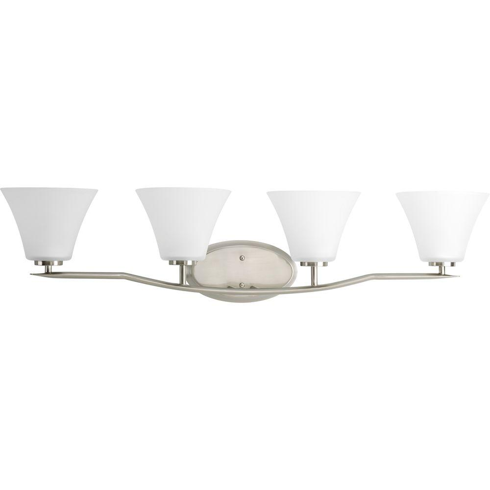 Bravo Collection 4-Light Brushed Nickel Vanity Fixture