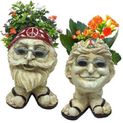 13 in. H Hippie Jerry and Hippie Chick Janice Antique White Muggly Face Planter Statue Holds 4 in. Pot