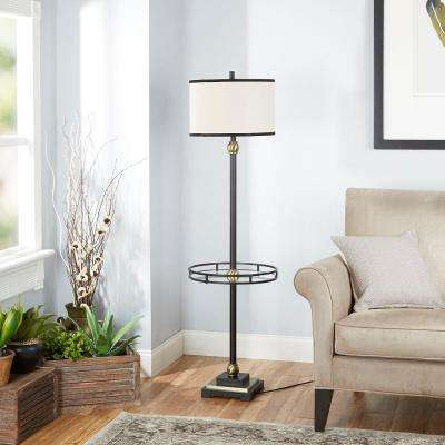 Monroe 60 in. Black Table Lamp with Linen Shade