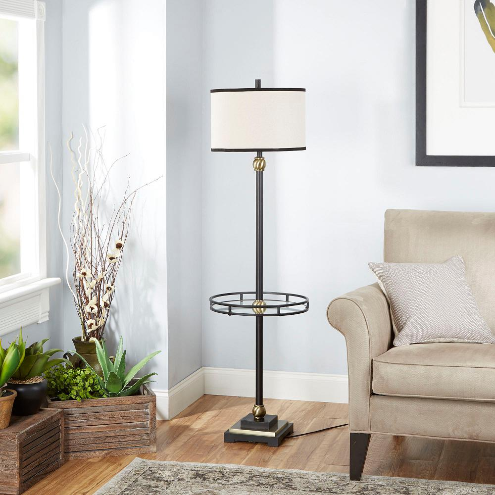 Silverwood Furniture Reimagined Monroe 60 In Black Table Lamp With Linen Shade