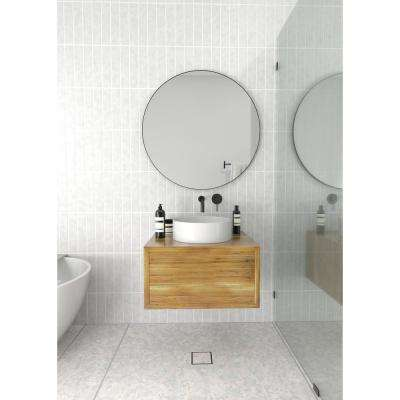 32 in. x 32 in. Round Stainless Steel Framed Wall Mirror In Black