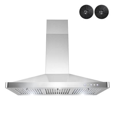 36 in. Convertible Wall Mount Range Hood in Stainless Steel with Button Controls and Carbon Filters