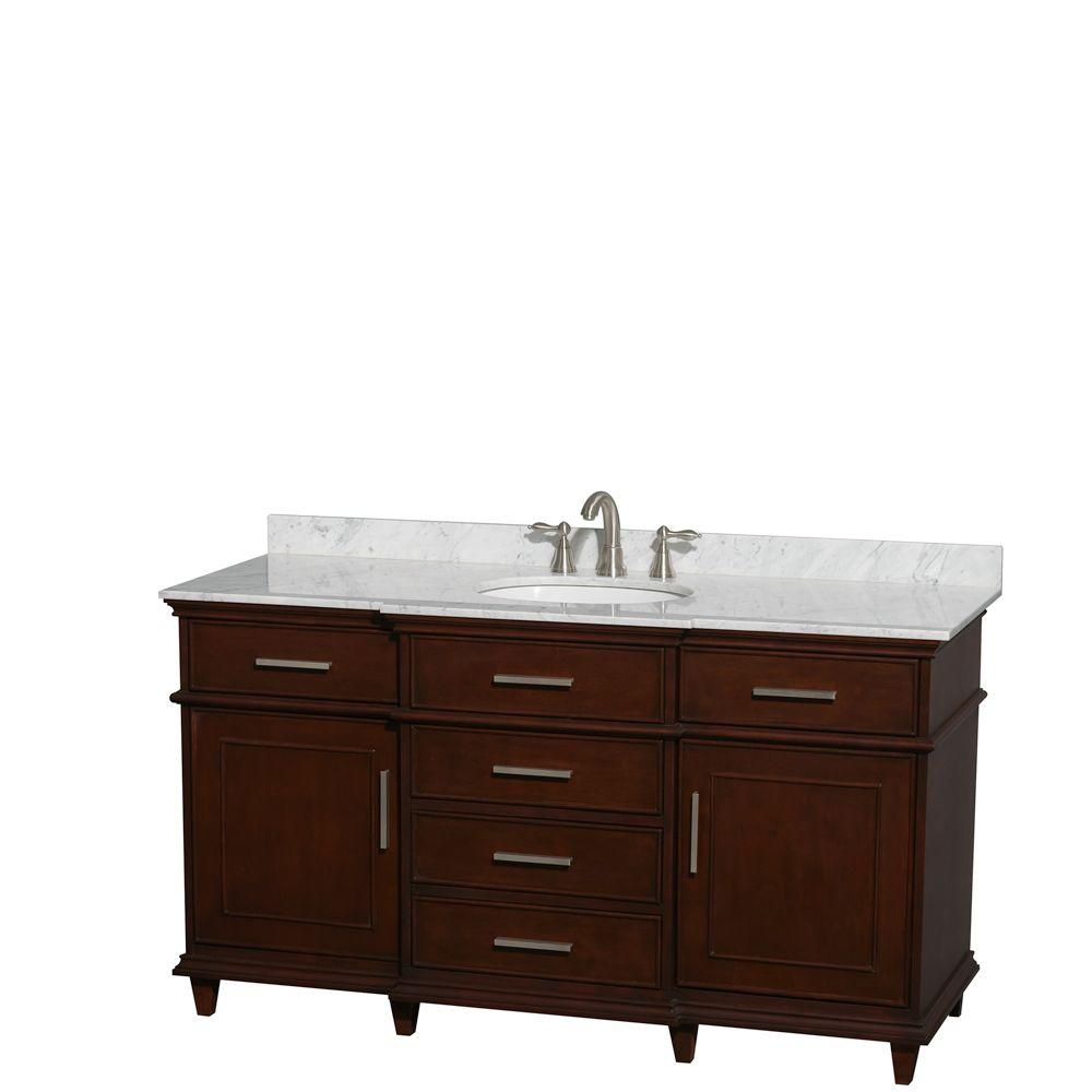 Wyndham Collection Berkeley 60 In Vanity In Dark Chestnut