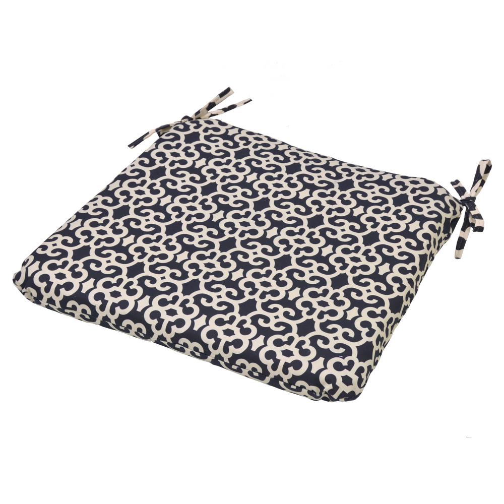 Black Trellis Square Outdoor Seat Cushion