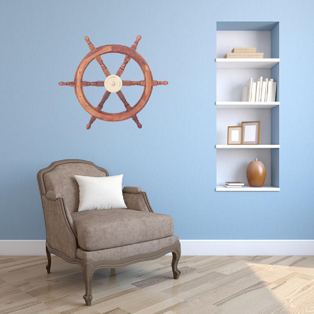 Brown Ship Wheel with 6-Spokes Marine Decor