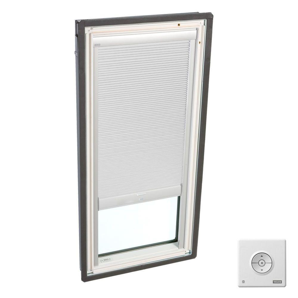 Solar Powered Room Darkening White Skylight Blinds for FS M02 and
