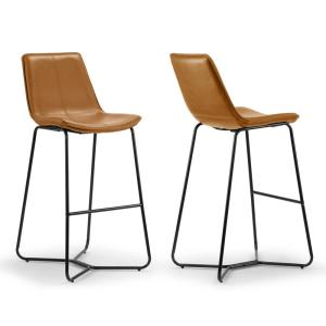 Amery 30 in. Cappuccino Iron Frame Vintage Faux Leather Bar Stool (Set of 2)
