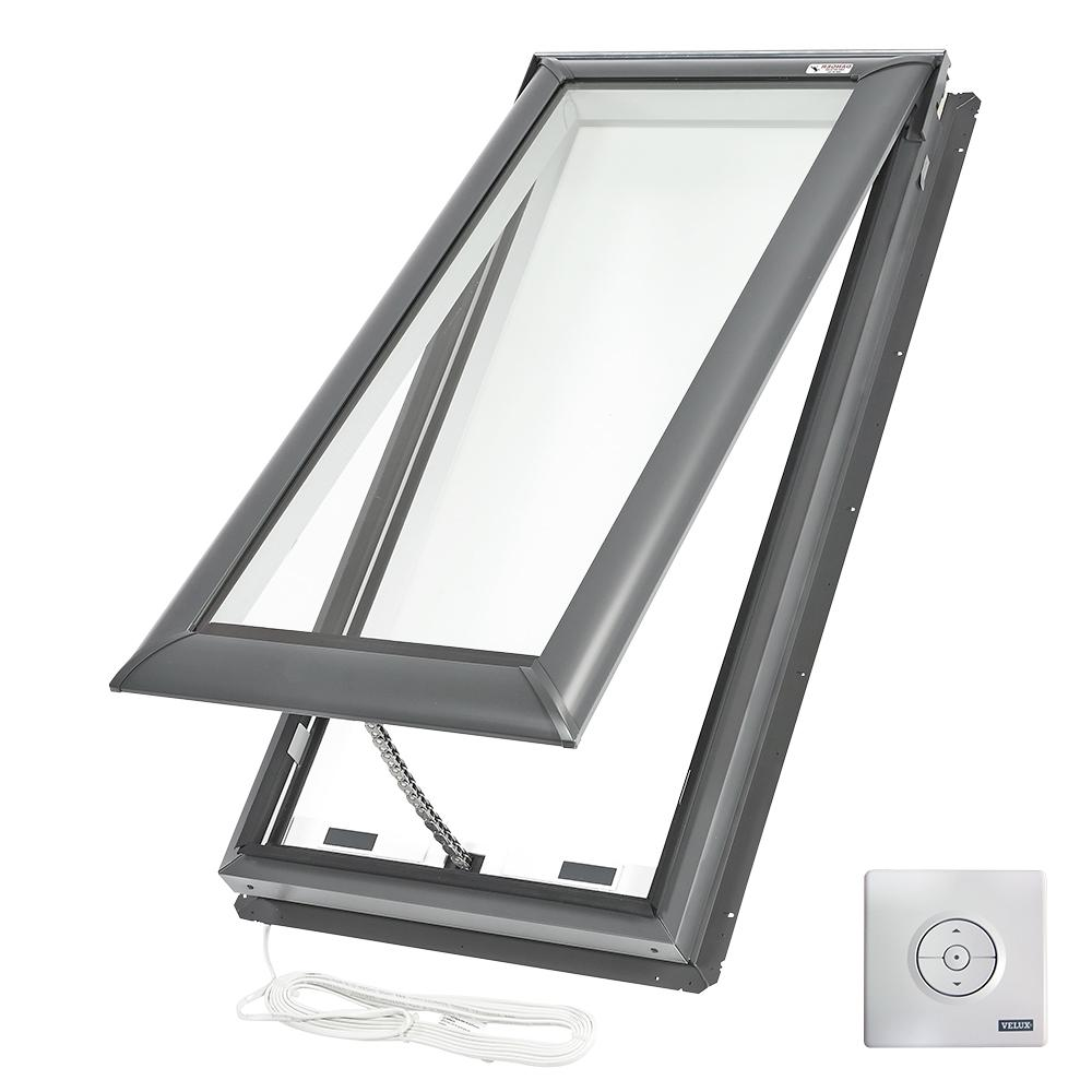 VELUX 21 in. x 45-3/4 in. Fresh Air Electric Venting Deck-Mount Skylight with Laminated Low-E3 Glass
