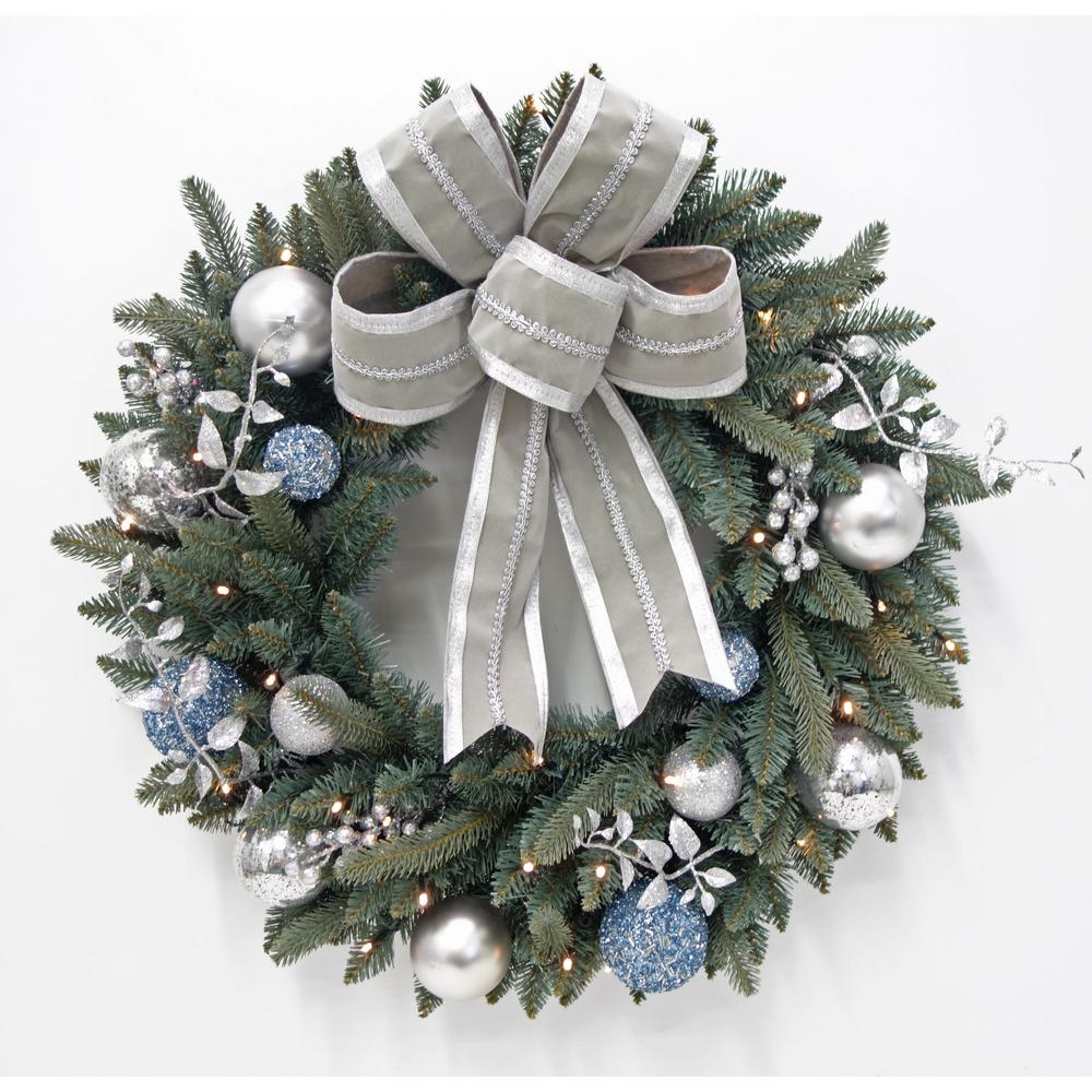 30 in. Pre-Lit LED Decorated Blue Spruce Artificial Christmas Wreath with