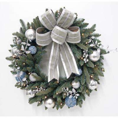30 in. Pre-Lit LED Decorated Blue Spruce Artificial Christmas Wreath with Grey Bow