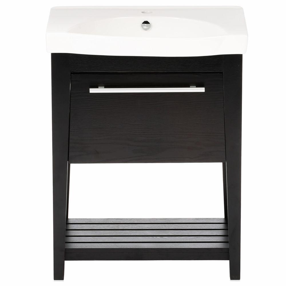 Luton 28 in. W x 18 in. D x 36 in. H Single Sink Wood Vanity in Black with Porcelain Vanity Top in White