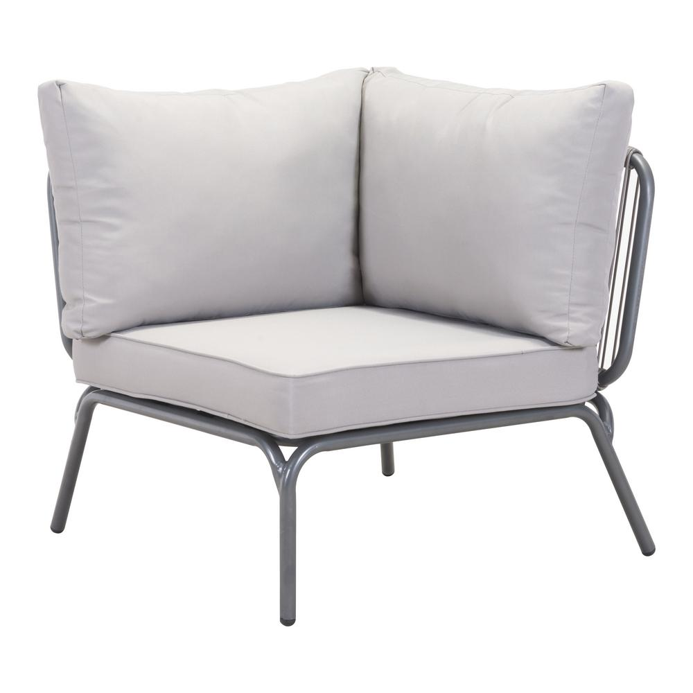 Zuo Pier Corner Patio Sectional Chair With Gray Cushion