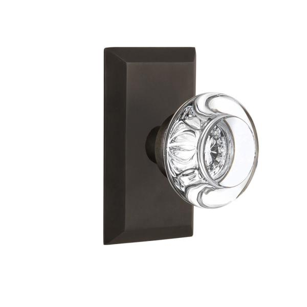 Single Dummy Nostalgic Warehouse Mission Plate with Round Clear Crystal Glass Knob Oil-Rubbed Bronze