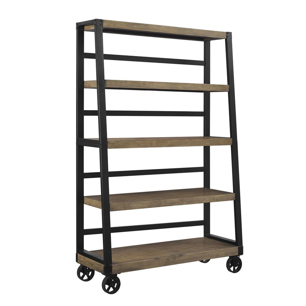 rustic shelf ladder ameriwood home fenwick rustic gray mobile ladder bookcase 11834