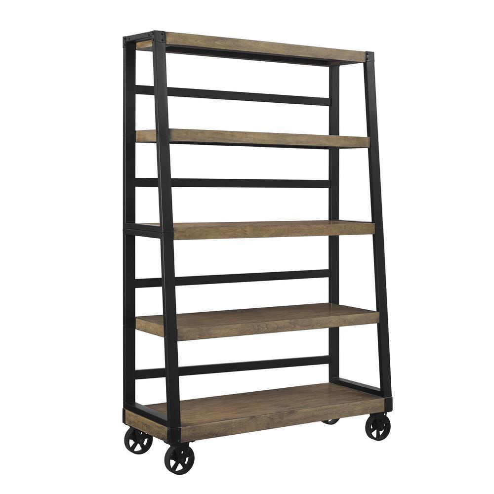Fenwick Rustic Gray Mobile Ladder Bookcase