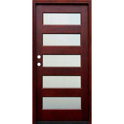 36 in. x 80 in. Contemporary 5 Lite Mist Lite Stained Mahogany Wood Prehung Front Door