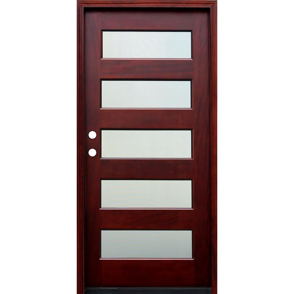 Contemporary 5 Lite Mist Stained Mahogany Wood Prehung