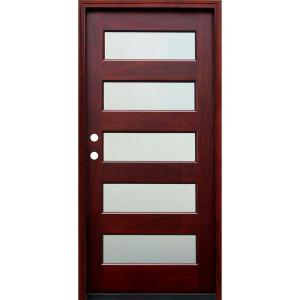 Pacific Entries 36 In X 80 In Contemporary 5 Lite Mist Lite Stained Mahogany Wood Prehung