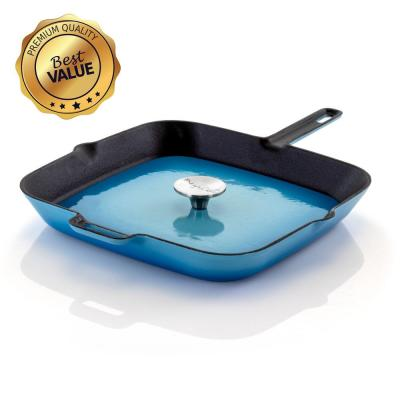 MegaChef 14 in. Blue Enamel Cast Iron Grill Pan with Press