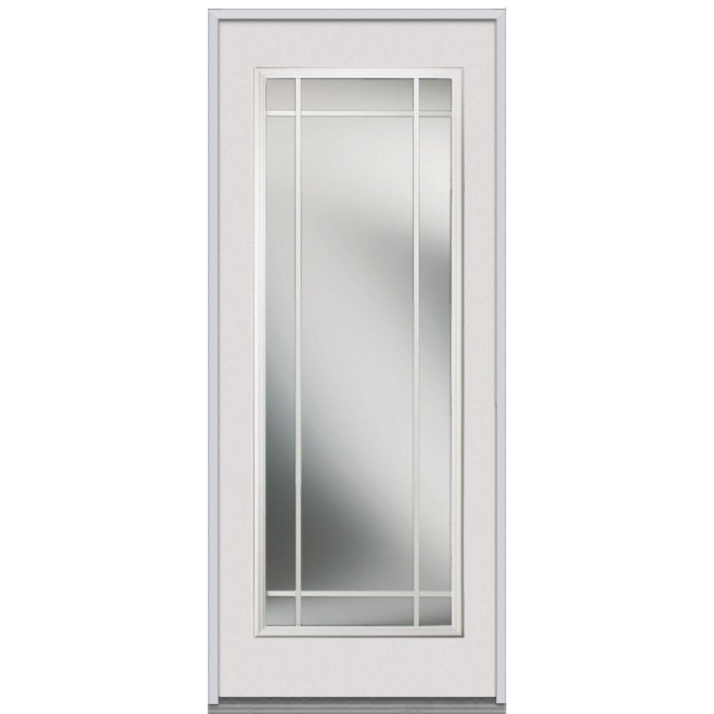 Milliken Millwork 32 in. x 80 in. Classic Clear Glass Full Lite PIM Primed White Steel Replacement Prehung Front Door