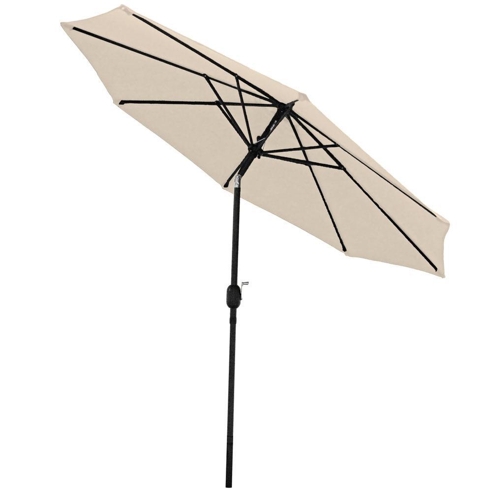 9 ft. Aluminum Market Tilt Patio Umbrella in Beige