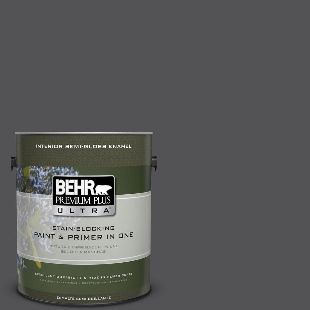 1-gal. #BXC-30 Black Space Semi-Gloss Enamel Interior Paint