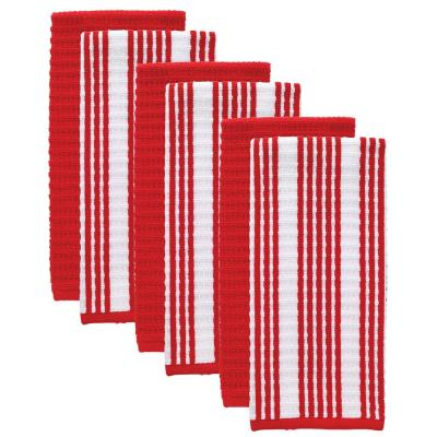 T-Fal Red Solid and Stripe Cotton Waffle Terry Kitchen Dish Towel (Set of 6)