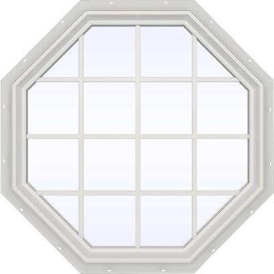 47.5 in. x 47.5 in. V-2500 Series Fixed Octagon Geometric Vinyl Window with Grids in White