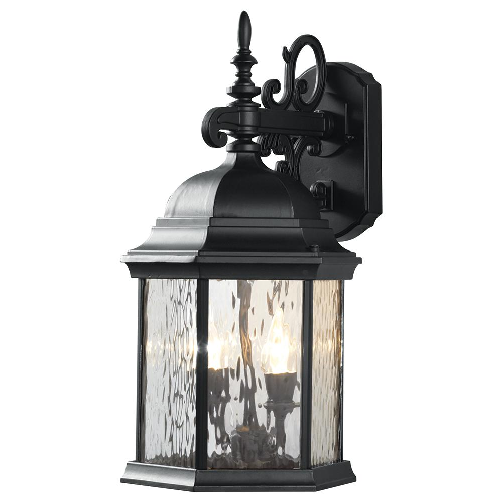 9.5 in. 2-Light Oil-Rubbed Bronze LED Decorative Water Glass Outdoor Lantern