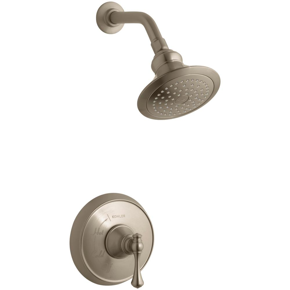 KOHLER Revival 1-Spray 6.5 in. Single Wall Mount Fixed Shower Head in Vibrant Brushed Bronze was $526.99 now $263.5 (50.0% off)