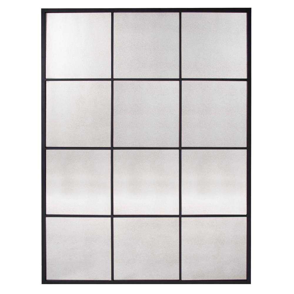Racine Windowpane 55 in. x 42 in. Industrial Rectangle Framed Wall Mirror