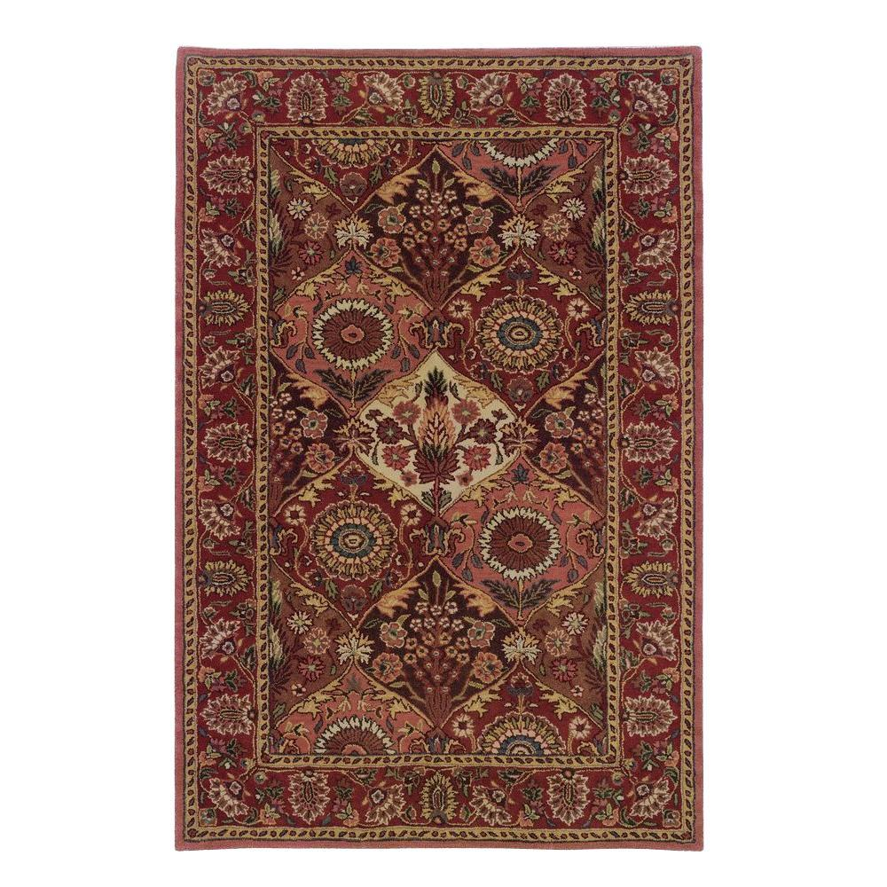 Linon home decor rosedown collection burgundy and coral 9 ft x 12 ft indoor area rug rug - Rugs and home decor decor ...