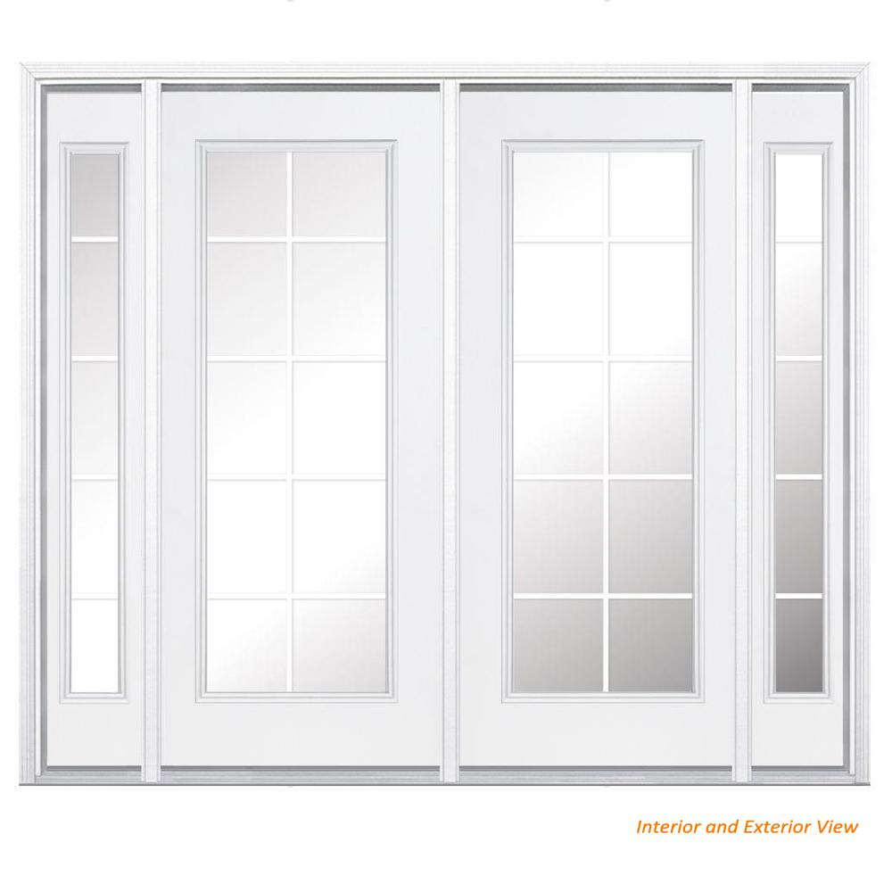 Masonite 96 In X 80 In Prehung Right Hand Inswing 10 Lite Primed Steel Patio Door With
