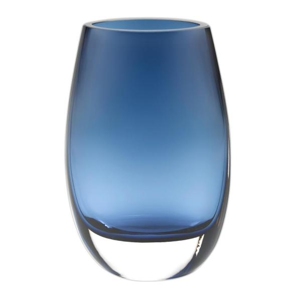 7.5 in. Crescendo Midnight Blue European Mouth Blown Oval Thick Walled Decorative Vase