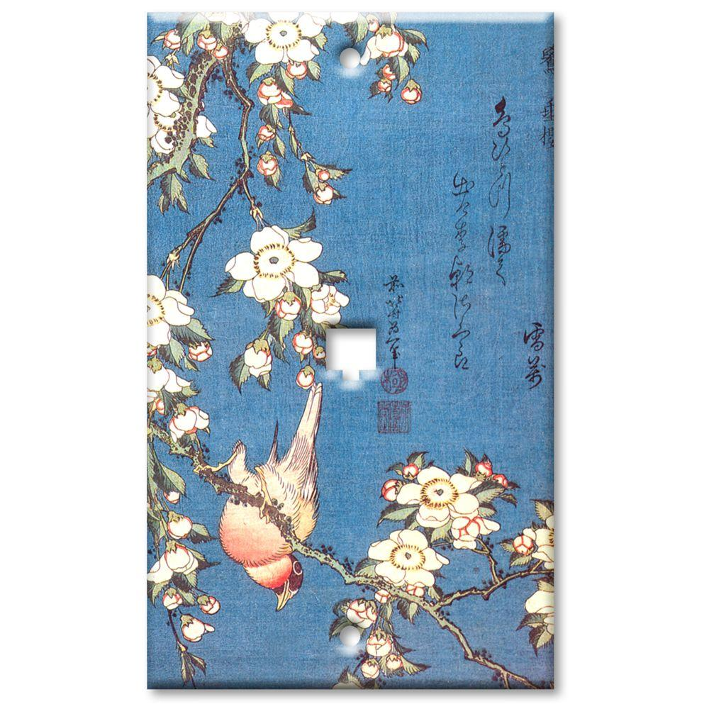 Art Plates Hokusai Weeping Cherry and Bullfinch Cat5 Wall Plate