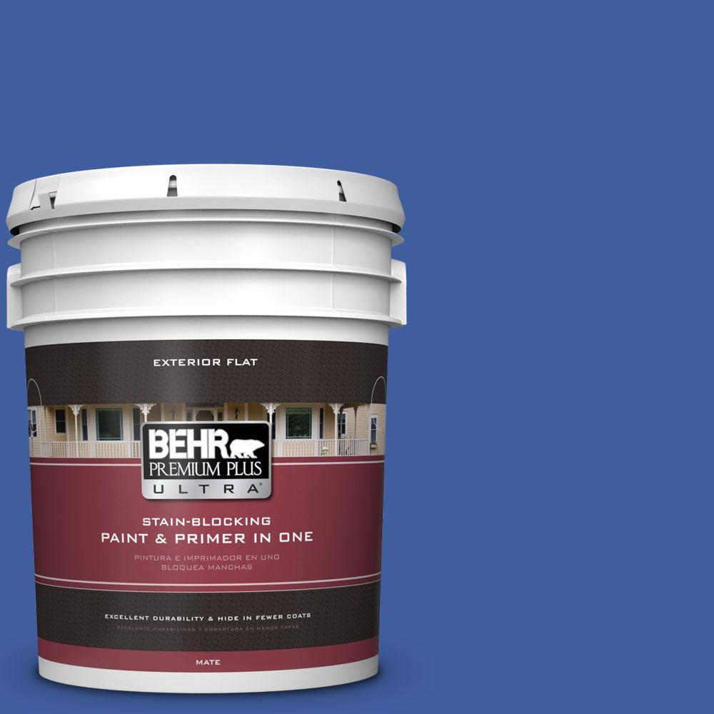 5-gal. #BIC-21 Blue Dahlia Flat Exterior Paint