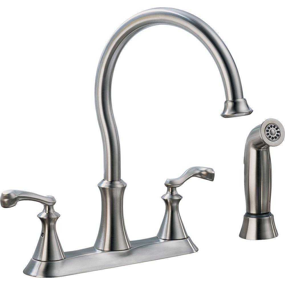 Delta Vessona 2 Handle Standard Kitchen Faucet With Side Sprayer In  Stainless
