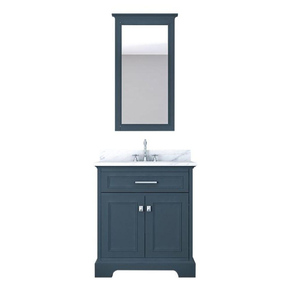 Alya Bath Yorkshire 31 in. W x 22 in. D Vanity in Gray with Marble Vanity Top in White with White Basin and Mirror