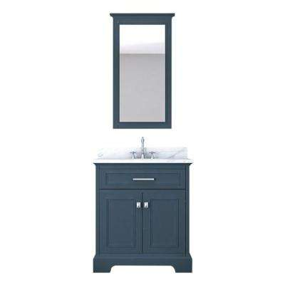 Yorkshire 31 in. W x 22 in. D Vanity in Gray with Marble Vanity Top in White with White Basin and Mirror