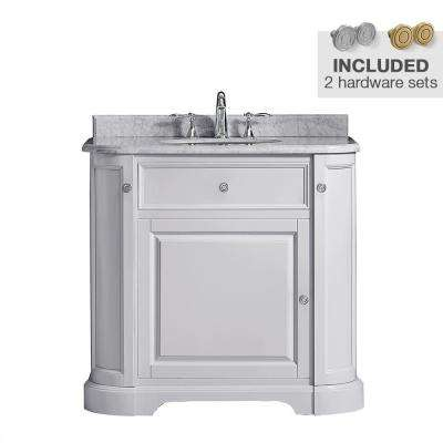 Diana 36 in. W x 22.5 in. D Vanity in Dove Grey with Marble Vanity Top in Carrera with White Basin