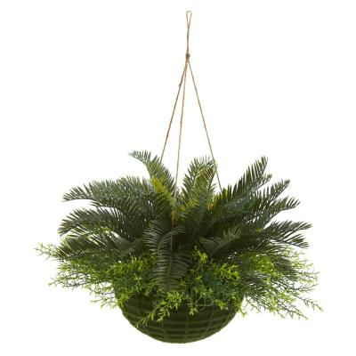 Indoor/Outdoor Cycas Artificial Plant in Mossy Hanging Basket
