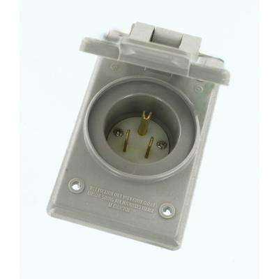 15 Amp 125-Volt Straight Blade Grounding Power Inlet Outlet, Gray