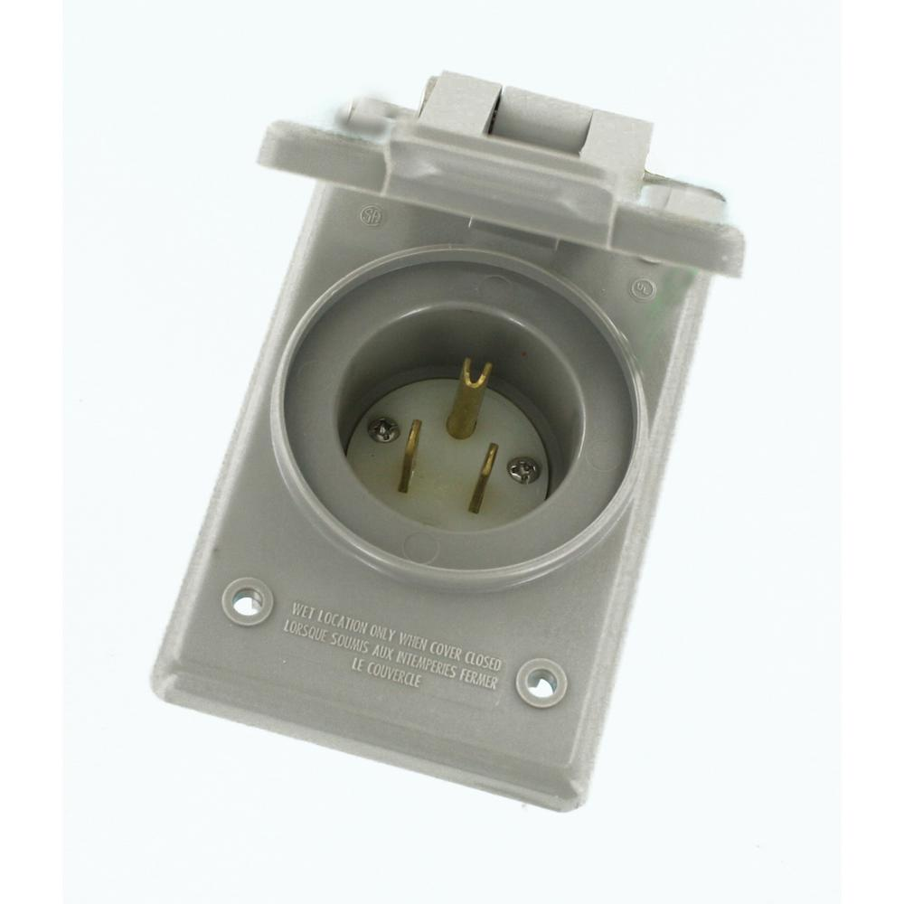 Leviton 15 Amp 125-Volt Straight Blade Grounding Power Inlet Outlet ...