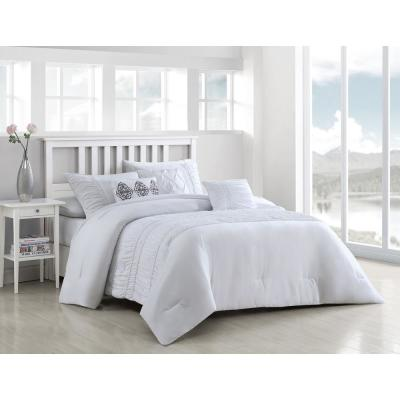Navier 6-Piece White Queen Rouched Comforter Set with Throw Pillows
