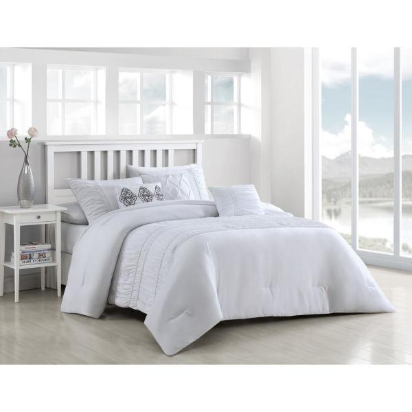 Unbranded Navier 6 Piece White Queen Rouched Comforter Set with