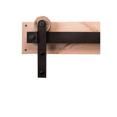 84 in. Dark Bronze Sliding Barn Door Hardware Kit with Modern Hangers and Falcon Pull