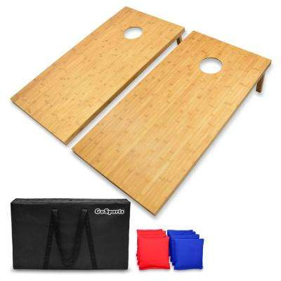 4 ft. X 2 ft. Bamboo Cornhole Set with 8 Bean Bags and Carrying Case